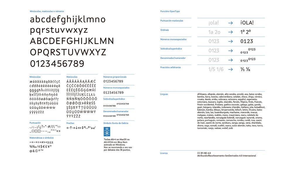 especimen tipografico xunta sans