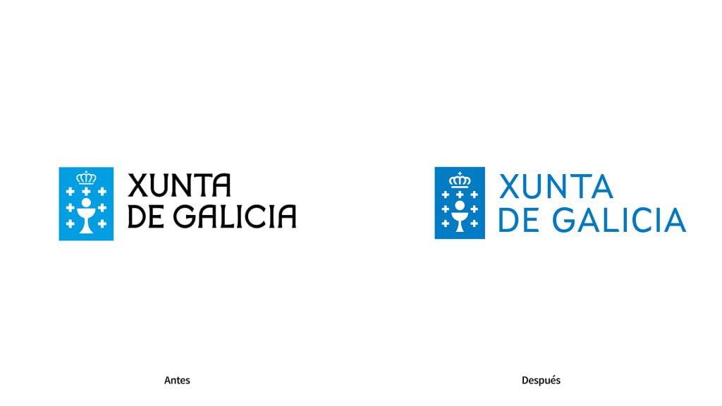 antes y despues de la identidad corporativa de la Xunta de Galicia