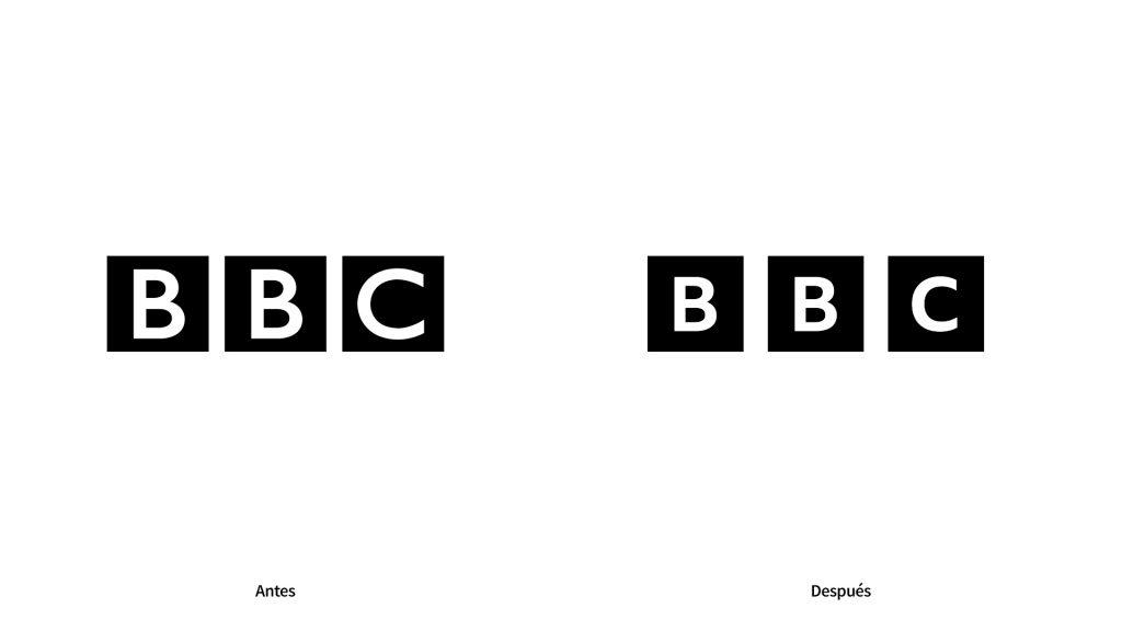 antes y despues del nuevo logotipo de la BBC