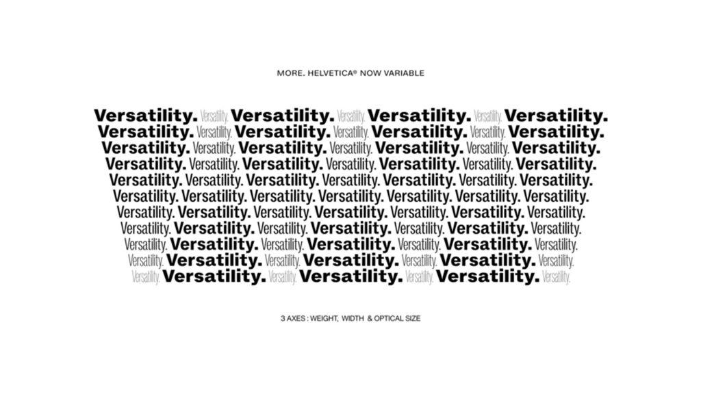 Versatility Helvetica Now Variable